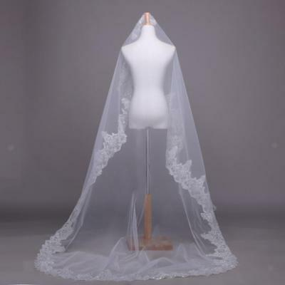 Pure White Lace Tulle Sequins Long Cathedral Bridal Wedding Veil Accessory