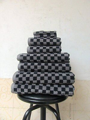Luxury Egyptian Cotton 650gsm Black And Grey Checked Towels