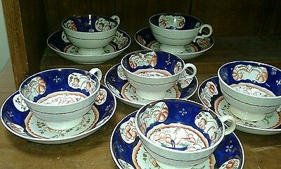 Gaudy Welsh six antique cups and saucers