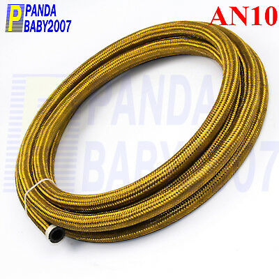 Stainless Steel Braided An10 -10An Oil Fuel Line Hose 9.8 Foot Golden