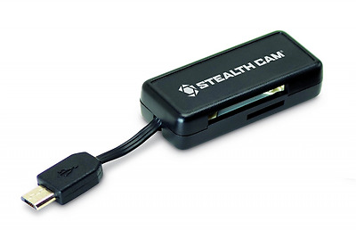 Stealth Cam Micro USB OTG Memory Card Reader for Android Devices, Black