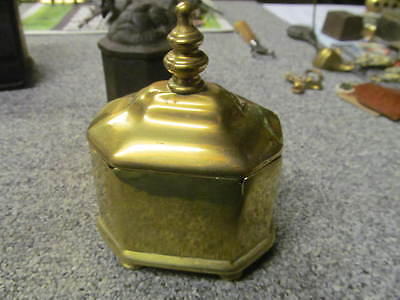 antique  octagonal cast brass  tobacco box    -JJ14-