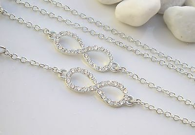 Crystal Infinity Silver Finish Spectacle Glasses Chain. Reading Fashion Free P&P