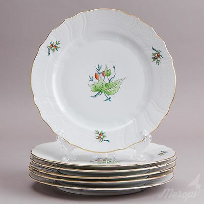 Set of Six Herend Rosehip Pattern Dinner Plates, 6 Pieces, #1524