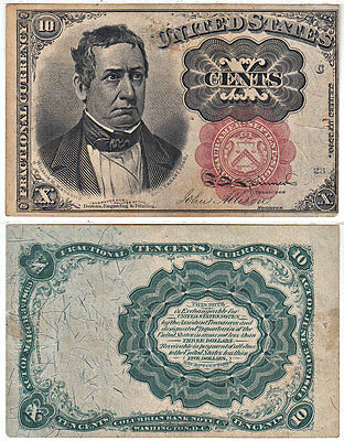 Fractional Currency 5th Issue 10 Cent Thick Key Extra Fine FR 1266