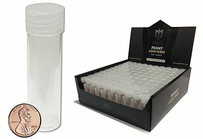 100 Individual NEW Round Ultra Clear PREMIUM Plastic PENNY Coin Tubes with Screw