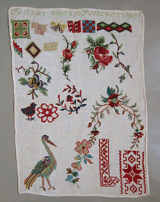 1881 Belgian Antique Woolwork Sampler Flowers Birds Borders 'eugenie Rutsaert'