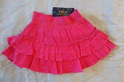 Girls RALPH LAUREN Smocked Tiered Ruffle A-line Skirt Hibiscus Pink 2T 3T 4T New