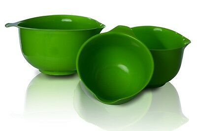 Set of 3 Deep Green Mixing Bowls Coloured Kitchen Salad Catering Sauces Serving