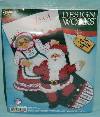 "New Design Works ""Dancing Claus"" Christmas Stocking Felt Embroidery Kit Santa"