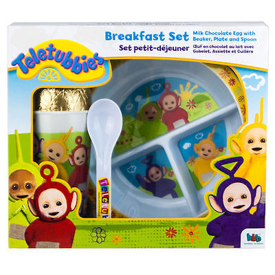 Teletubbies Easter Egg Toddler Kids Breakfast Beaker Plate Spoon Gift Set