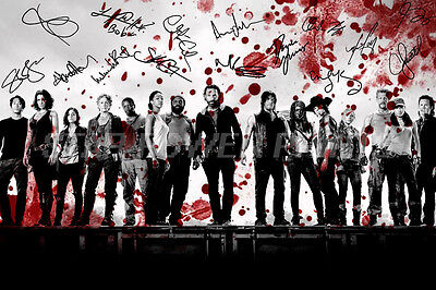 The Walking Dead Cast Art Pre Signed Photo Print Poster N.o 4 - 12 X 8 Inch