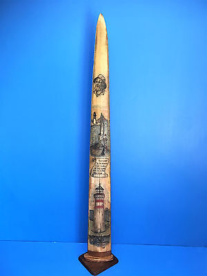 SCRIMSHAW SWORDFISH BILL,LIGHTHOUSE,FREE HAND ORIGINAL 1 OF A KIND with COA