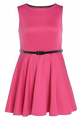 Womens Plus Size Hot Pink Skater Dress With Patent Belt