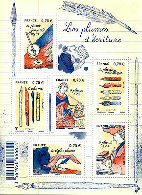 France 2016 MNH Writing Pens Feathers 6v M/S Stamps