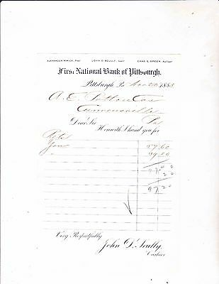 First National Bank Of Pittsburgh Letterhead ---Pittsburgh Pennsylvania----1883