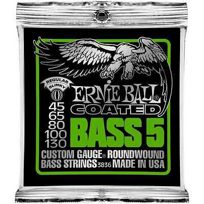 Ernie Ball 3836 Coated Super Slinky BASS Guitar Strings 5-string gauges 45-130