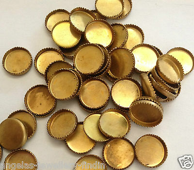 15 x Vintage Brass Round Cameo/Cabochon/Stone Setting-7 mm approx -for 5-6mm cab