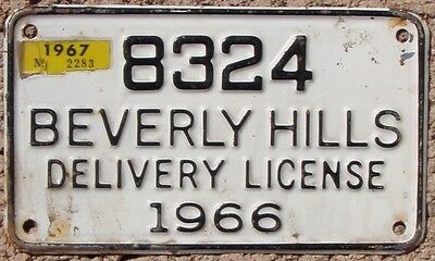 1966-67 Beverly Hills CALIFORNIA City License Plate  CA #8324