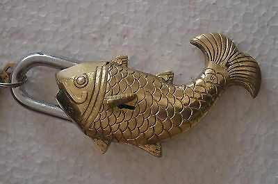 Indian Hand Crafted Antique Brass Fish Shape Padlock With 2 Key LO-16