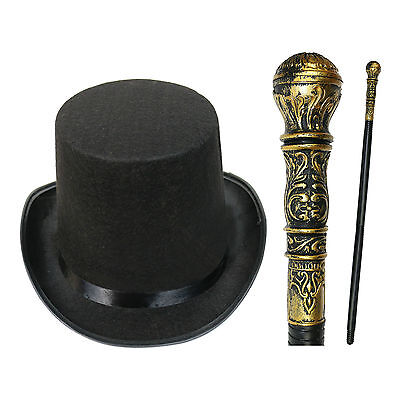 Victorian Gentleman Kids Adults Fancy Dress Top Hat & Cane WORLD BOOK WEEK / DAY