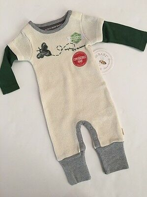 Burts Bees Baby Boy Organic Thermal Coverall Size Newborn 3 6 Months Ivory Green