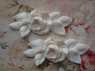 New! Shabby and Chic Rose Leaf Appliques 2 pc. Furniture Applique Architectural