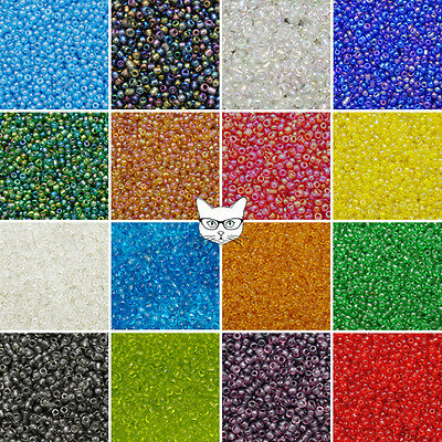 50g Glass Seed Beads Size 11/0 2mm Transparent Rainbow AB Jewellery Making Craft