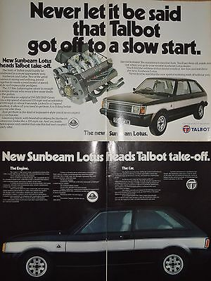 Talbot Lotus Sunbeam Original 1980 A3 Advertisements - Ready to Frame