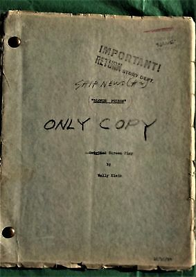 Torchy Blane (Ship News #2) Blonde Poison Original screenplay the Only Copy 1937