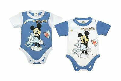 Disney Mickey Mouse short sleeved Baby Body Cotton 56/62/68/74/80/86 blue white