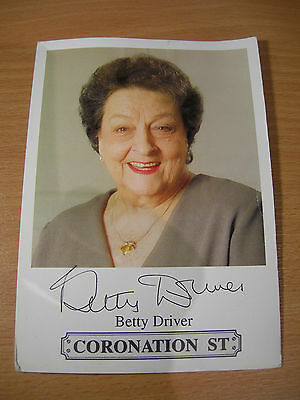 Collectable Betty Driver Coronation St Actress Printed Signed Rare TV Cast Card