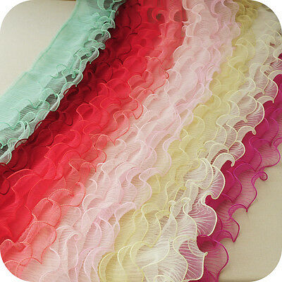 3 Layers Pleated Ruffles Trim Mesh Frill Sewing Edge DIY Trimming Craft By Yard