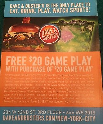 50 Dave and Busters D&B $20 gameplay with same purchase powercard EXP 03/31/2019