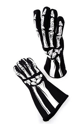 Rjs Sfi 3.3/1 New Skeleton Racing Gloves Black & White Size Adult Small