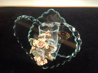 Vintage Unique Crystal Hand Cut Hearts, Flowers, Jewels Signed Made In Italy