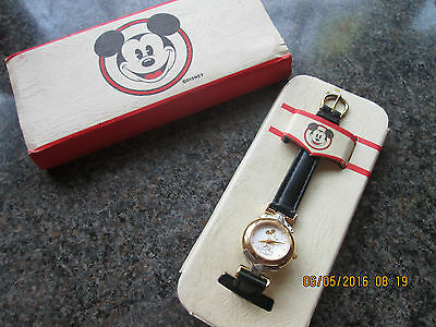 Mickey Mouse Gold/silver Watch In Tin/slip Cover Disney Store
