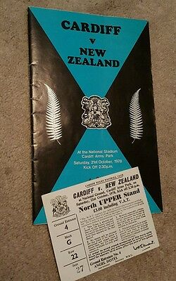 Cardiff v New Zealand 1978 rugby union programme