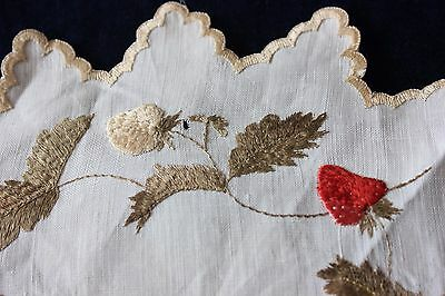 "Antique Society Silk Hand Emb Stumpwork Strawberries On Linen c1880-90~11"" Round"