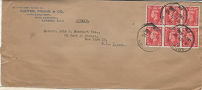 Uk Gb Cover 1952 London To New-York, Ny, Usa Airmail Block Of 6