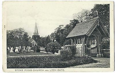 Vintage Postcard STOKE POGIS CHURCH and LYCH GATE Slough BERKSHIRE