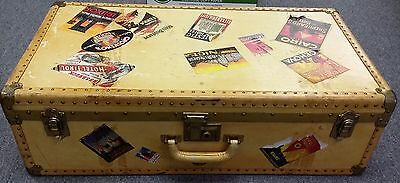 Antique Genuine National Vulcanized Fibre Co Trunk Suitcase with Travel Stickers