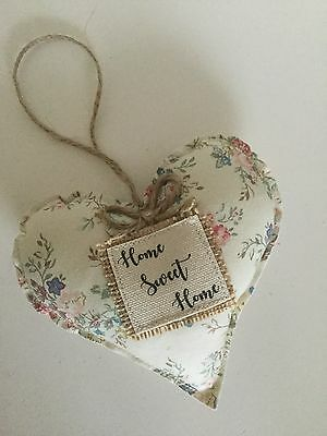 Handmade Fabric Hanging Heart - Home Sweet Home - Floral - Shabby Chic - Vintage