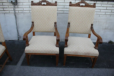 Great Set of Six American Victorian Solid Oak Dining Room Chairs, New Upholstery