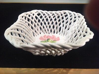 "Vintage Open Weave White Porcelain Basket  9""x9""x3.5"" Capodimonte Made In Italy"
