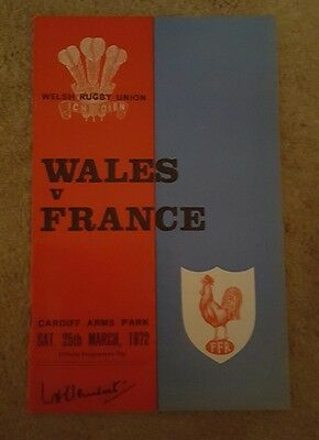 wales v France 1972 rugby union programme