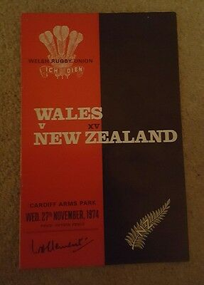 wales v New Zealand 1974 rugby union programme