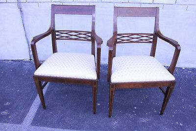 Charming Pair of English Inlaid Regency Style Mahogany Armchairs, New Upholstery