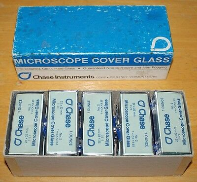 Chase 22mm x 22mm Microscope Cover Glass #2 Slides, 1 Ounce Boxes, Case of 10