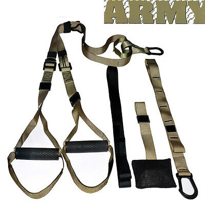 Army Gym Body Fitness Resistance Trainer Band Kit Exercise Strenght Workout